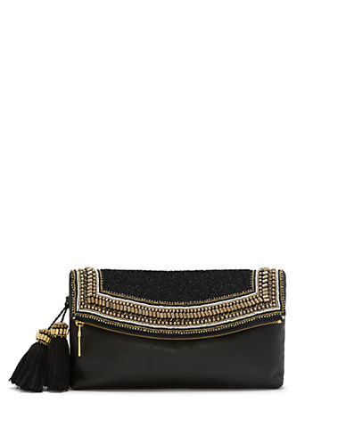 Vince Camuto Bessy Leather Beaded-Flap Tassel Clutch
