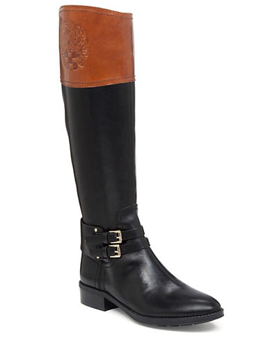 Buy Pyran Two-Tone Leather Riding Boots by Vince Camuto online