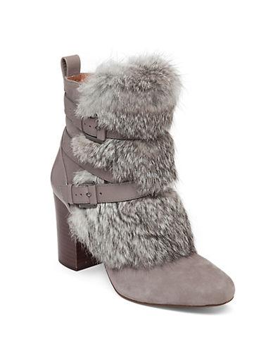 LOUISE ET CIESeneca Rabbit Fur-Trimmed Leather Booties