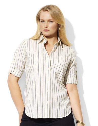 LAUREN RALPH LAURENPlus 3/4-Sleeved Polka-Dot Dress Shirt