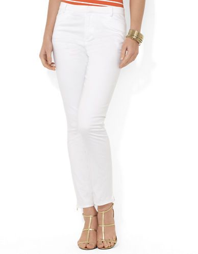 Slim Stretch-Cotton Ankle-Zip Pants