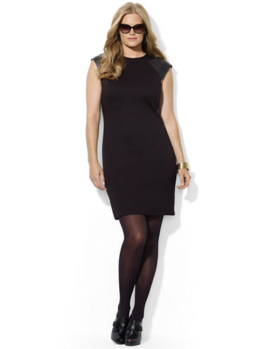 LAUREN RALPH LAUREN Plus Leather-Sleeved Sheath Dress