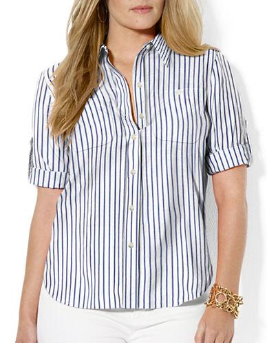 LAUREN RALPH LAURENPlus Roll-Sleeve Cotton Dress Shirt