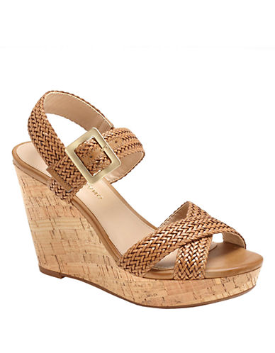 ARTURO CHIANG Pameila Vachetta Leather Wedge Sandals