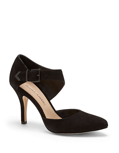 ARTURO CHIANG Alianna Kid Suede Ankle Strap Pumps