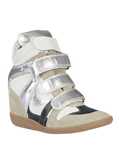 STEVE MADDEN Hilight Suede Wedge Sneakers