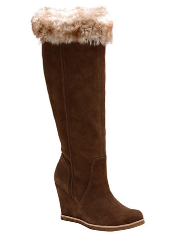 Buy Tatum Suede and Faux Fur Knee-High Boots by Splendid online