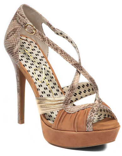 JESSICA SIMPSON Leather Peep-Toe Pumps