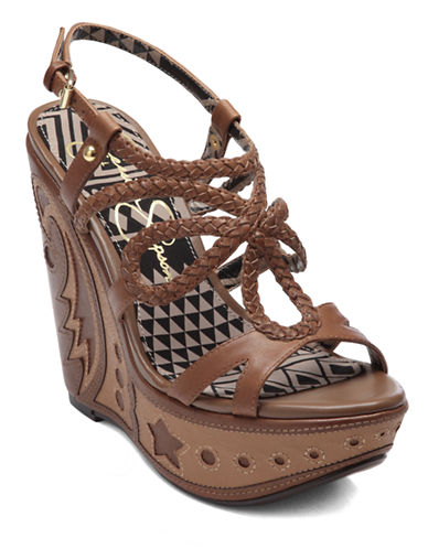 JESSICA SIMPSONBraided Leather Strappy Wedge Sandals