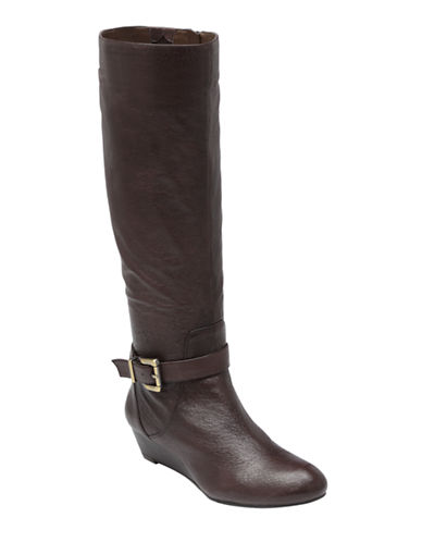 JESSICA SIMPSON Becki Leather Wedge Boots