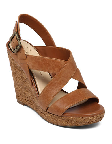 JESSICA SIMPSON Jerrimo Patent Leather Wedge Sandals