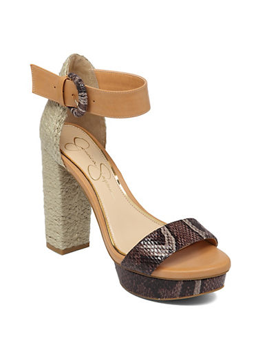 JESSICA SIMPSONKaelani Straw and Faux Leather Open-Toe Sandals