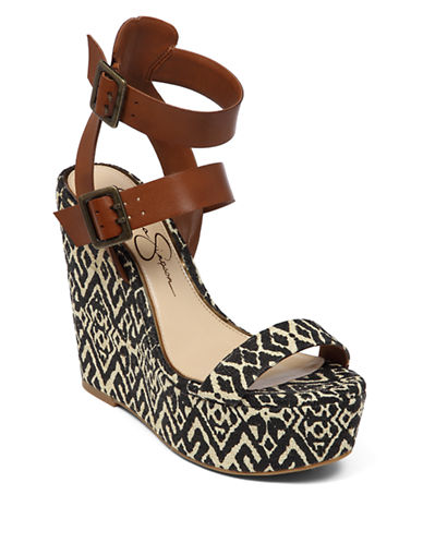 JESSICA SIMPSON Whitman Leather & Raffia Wedge Sandals