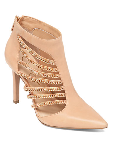 JESSICA SIMPSONCamelia Leather Chain-Cut Booties