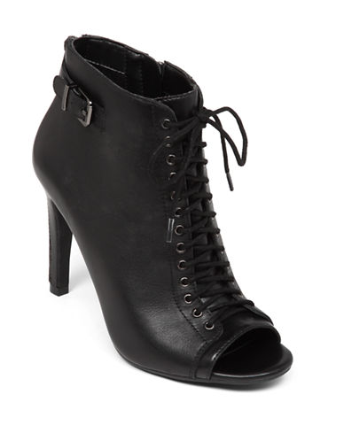 JESSICA SIMPSON Erlene Leather Lace-Up Peep-Toe Booties