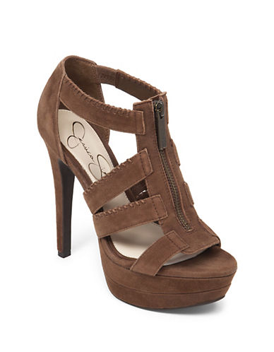 JESSICA SIMPSON Leather Strappy Platform Sandals