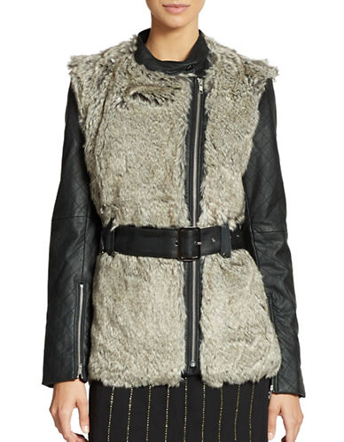 FRENCH CONNECTION Faux Fur and Leather Jacket