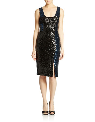 FRENCH CONNECTION Colorblock Sequined Sheath Dress