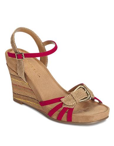 AEROSOLESPlush Around Wedge Sandals with Buckle Accent