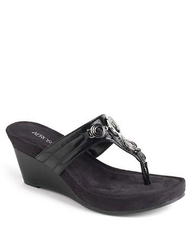 AEROSOLESFlashlight Patent Leather Wedge Thong Sandals