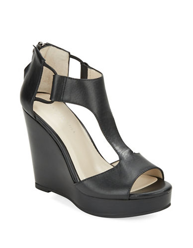 KENNETH COLE NEW YORKHayley Leather Platform Wedge Sandals