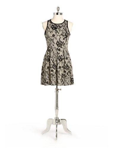 Floral Lace Print A-Line Dress