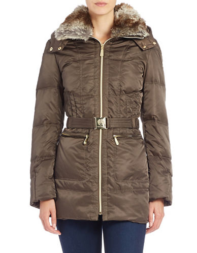 vince camuto female  faux furcollared belted coat
