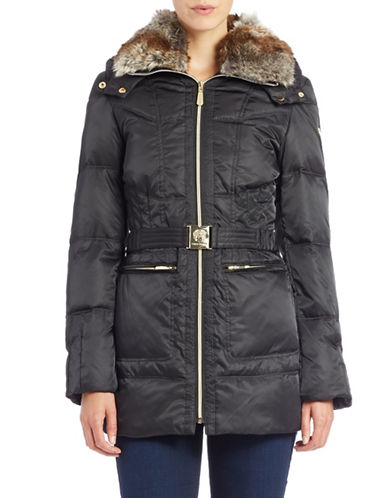 vince camuto female 188971 faux furcollared belted coat