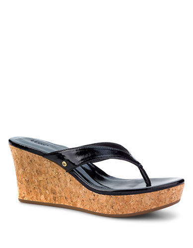 UGG AUSTRALIANatassia Italian Patent Leather Wedge Sandals