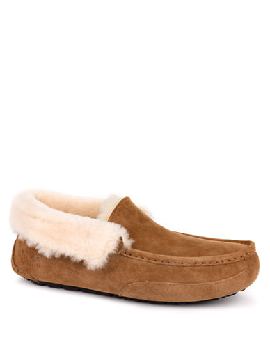 Ugg Australia Mens Grantt Suede and Sheepskin Moc Toe Slippe