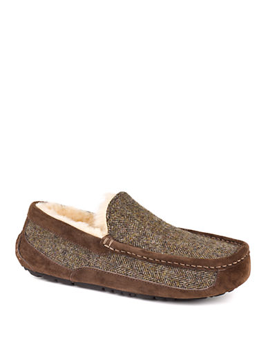 UGG AUSTRALIAMens Ascot Tweed and Suede Moc-Toe Slippers