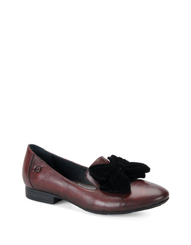 BORNLeather Flats with Fabric Bow