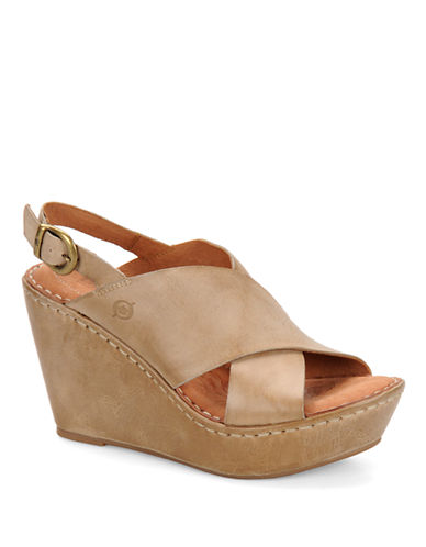 BORN Emmy Leather Wedge Sandals