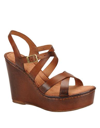 BORNFilomena Full-Grain Leather Wedge Sandals