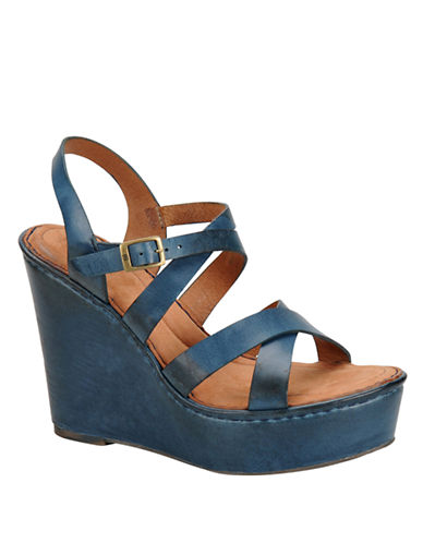 BORN Filomena Full-Grain Leather Wedge Sandals