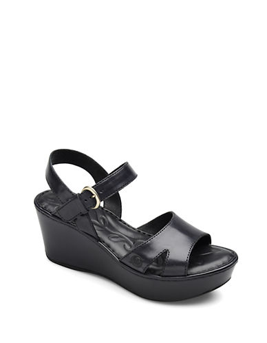 BORN Dujour Leather Wedge Sandals