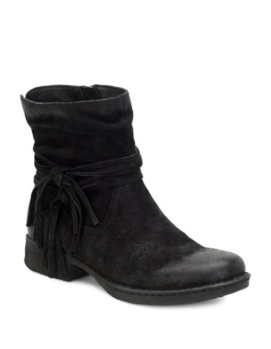 Buy Cross Fringed Slouched Distressed Leather Ankle Boots by Born online
