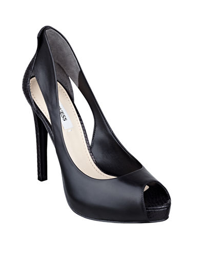GUESS Harrah Leather Peep Toe Pumps