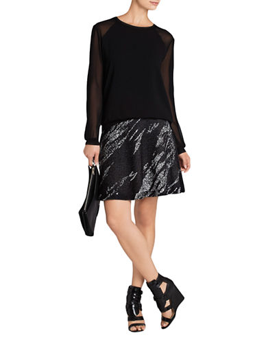 BCBGMAXAZRIAKarlie Crackled Jacquard A-Line Skirt