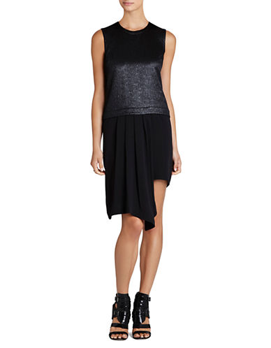 BCBGMAXAZRIAJuliane Asymmetrical Pleated Drape Ruffle Dress