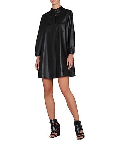 Shop Bcbgmaxazria online and buy Bcbgmaxazria Emilee Faux Leather A-Line Shirtdress dress online