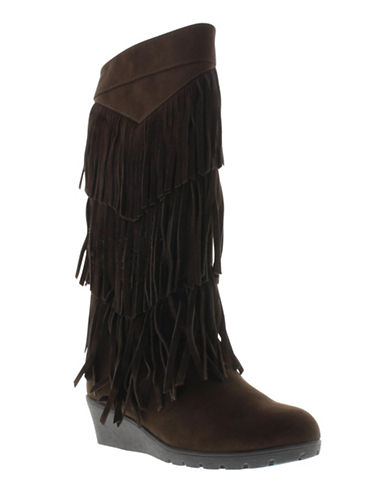 kenneth cole female simona fringed suede wedge boots