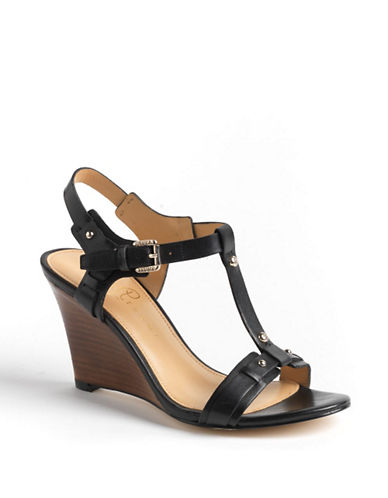 IVANKA TRUMP Bray Leather Wedge Sandals