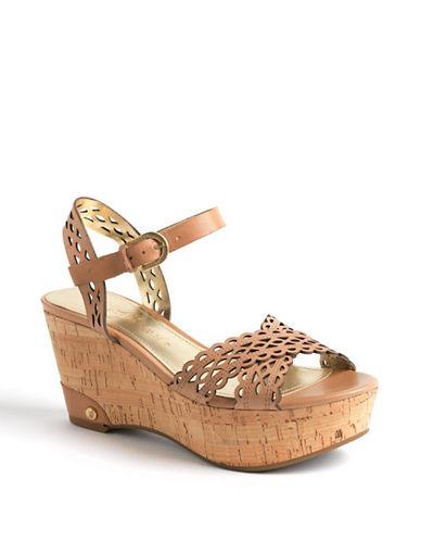 Ivanka Trump Aubrie Leather Wedge Sandals
