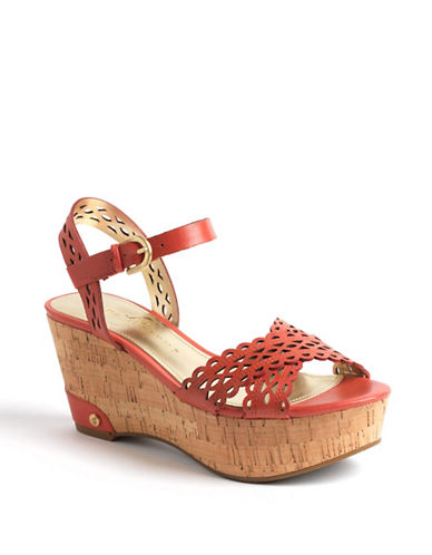 IVANKA TRUMP Aubrie Leather Wedge Sandals