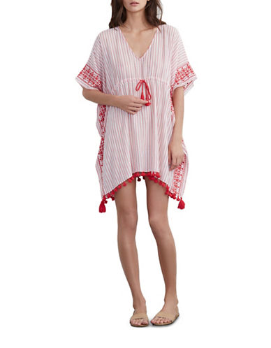 velvet by graham and spencer female 250960 embroidered cotton tassel poncho