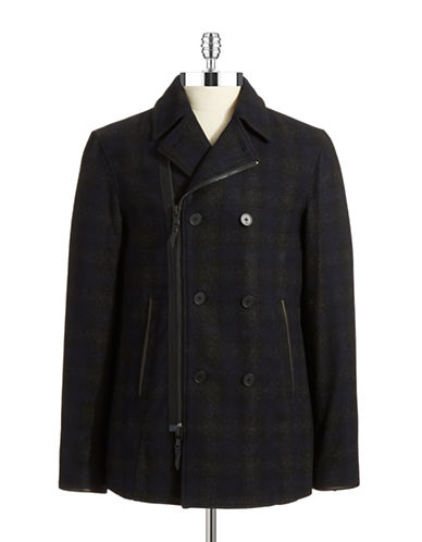 JOHN VARVATOS U.S.A. Plaid Asymmetrical Coat