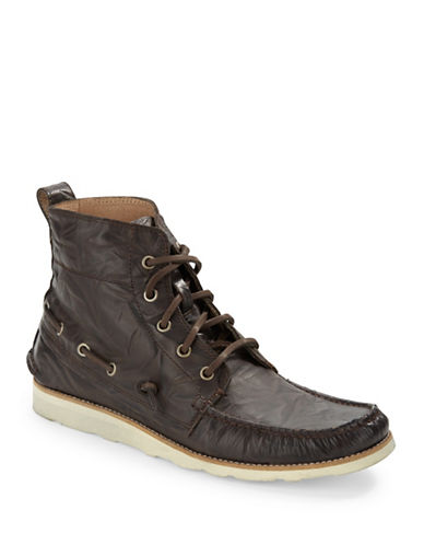 JOHN VARVATOS U.S.A. Lugger Leather Boat Boots