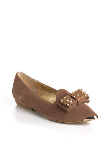 MODERN VICE Gwen Studded Bow Suede Loafers