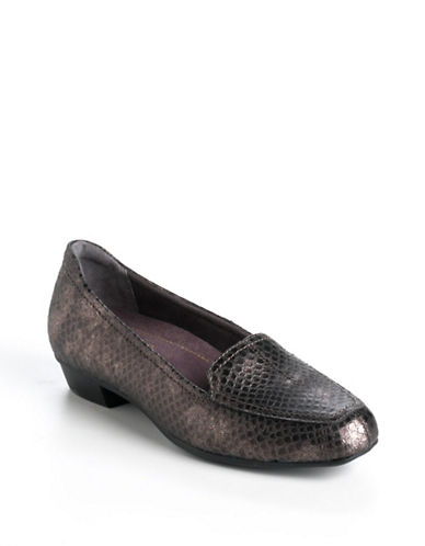 CLARKS Timeless Snake-Effect Leather Loafers